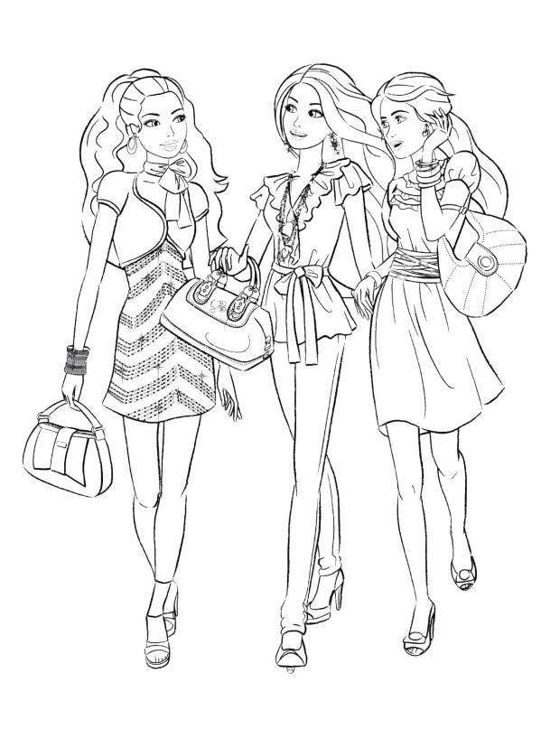 Барби шоппинг по магазинам Раскраски картинки цветов
