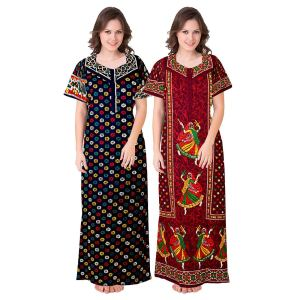 Women's Cotton Nighty Pack of 2 Pieces