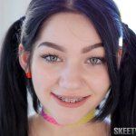 pigtails brunette white teen with braces ready for sex