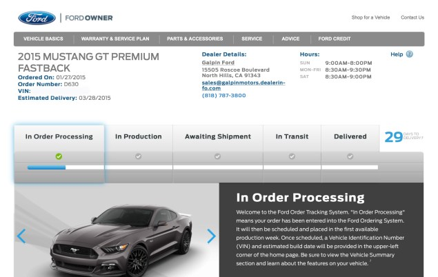 2015 Ford Mustang GT In Order Processing