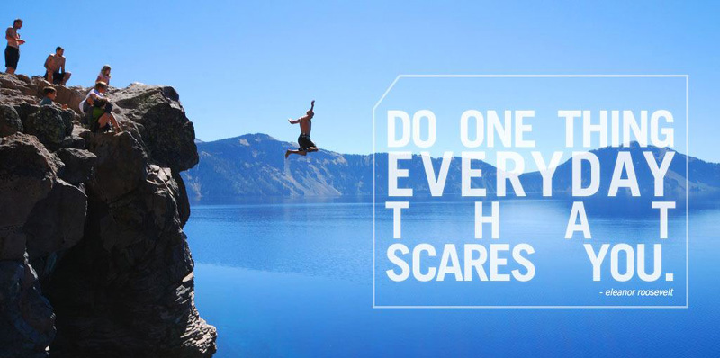 Picture of a person jumping off a cliff with overlaying text