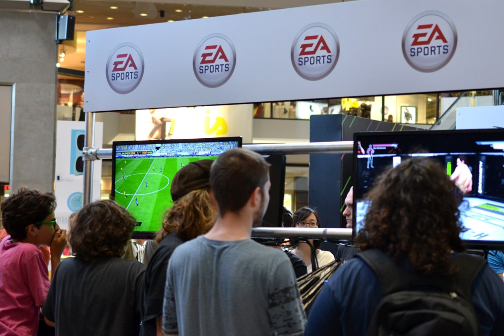 Playing FIFA and UFC at the EA Sports Booth