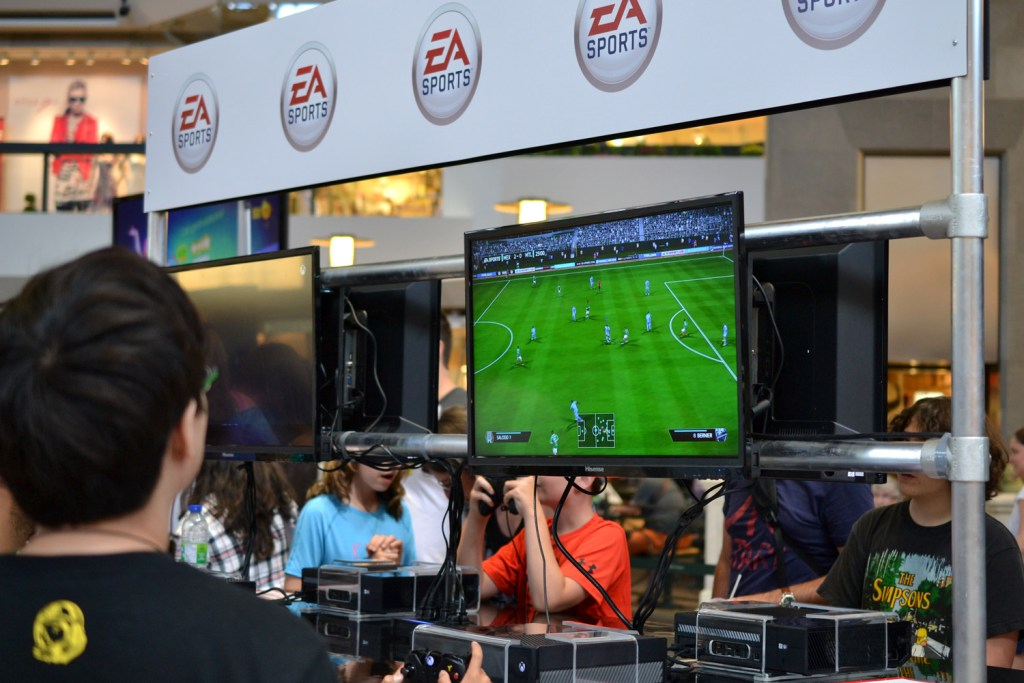 Playing FIFA 14 at the EA Sports booth