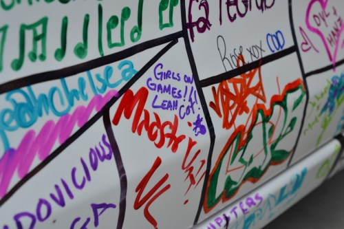 Leah and Cat signed the Forza Horizon 2 car at the Xbox One booth © Girls On Games