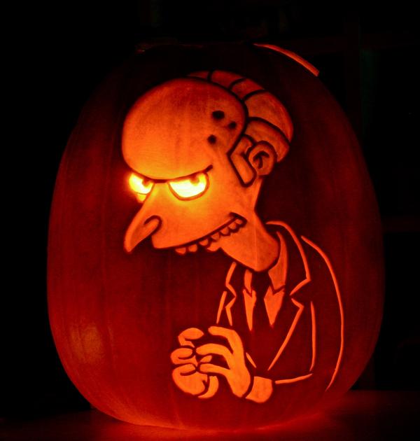 Mr. Burns pumpkin by maniacpumpkincarvers.com/