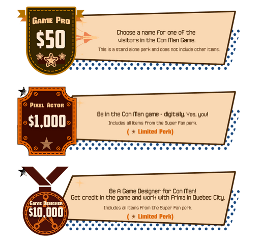 Con Man Reward Tiers (via Indiegogo)
