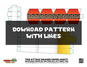 Download Trio Attack Hammer Papercraft Pattern With Lines