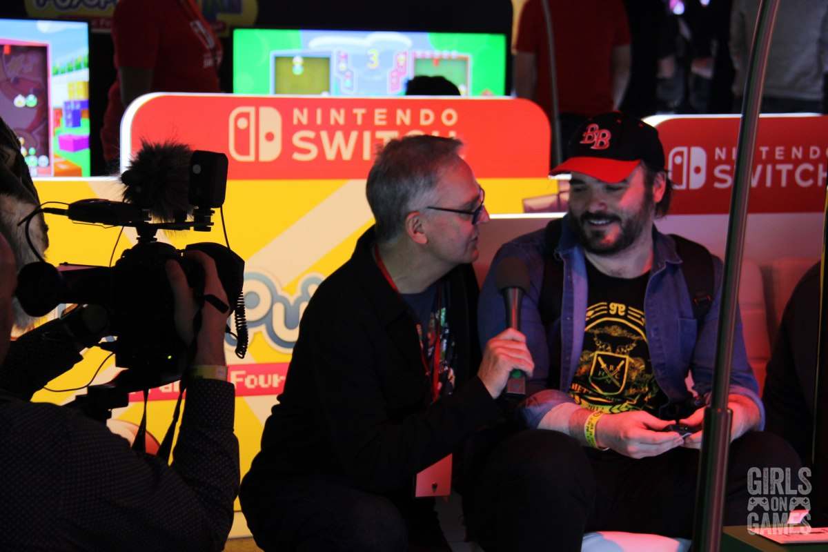 Denis Talbot conducting an interview at the Nintendo Switch event in Toronto. Photo: Leah Jewer / Girls on Games