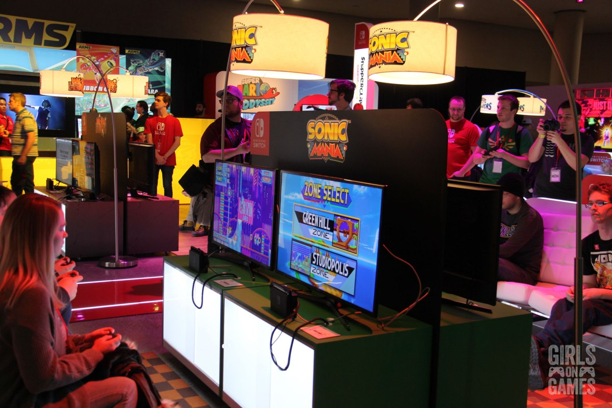 Attendees play Sonic Mania at the Nintendo Switch event in Toronto. Photo: Leah Jewer / Girls on Games