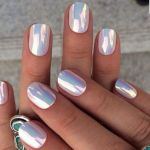 pink iridescent chrome nails, mermaid nails