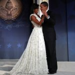Michelle Obama, Dancing, White evening gown