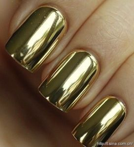 gold chrome nails