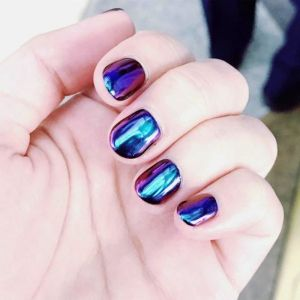 iridescent chrome nails, blue, purple, chrome nail ideas
