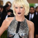 taylor swift, black lipstick, blonde short crop hair