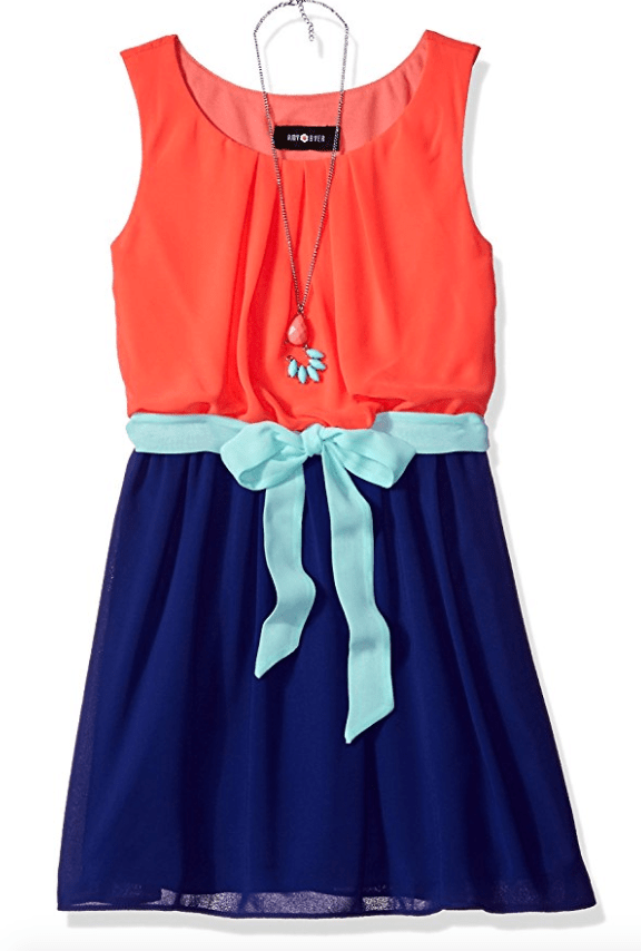 c18a9a75e8a2 Girls Tween Coral and Blue Colorblock Dress | tween girls clothing at ...
