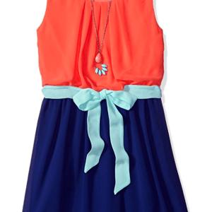 49c22c0c2d0 Girls Tween Coral and Blue Colorblock Dress