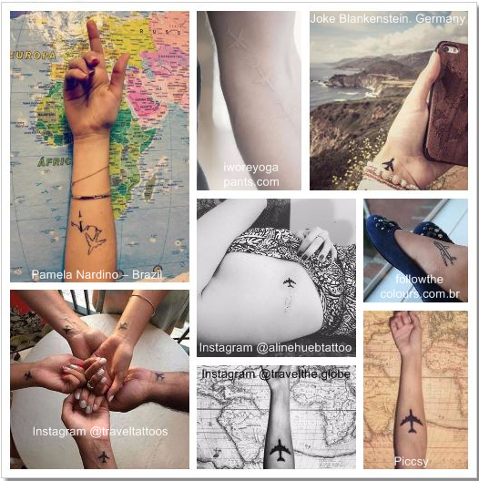 100 Amazing- and inspirational travel tattoos! Airplane Collage #airplane #travel #tattoo #traveltattoo #girlswanderlust #wanderlust.png