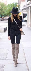 All Black And Knee Length Boots