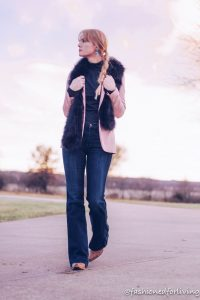 Blush blazer with jeans and Cowgirl boots