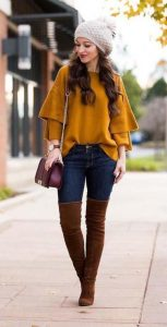 Camel Sweater, Jeans And Brown Boots