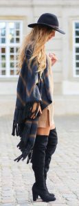 Camel Knit Dress Paired With Poncho And Black Boots