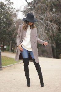 Houndstooth Coat And Black Boots