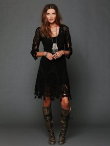 Lace Dress And Dark Brown Boots