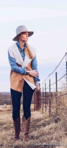 Shearling Vest With Chambray Top And Cowboy Boots