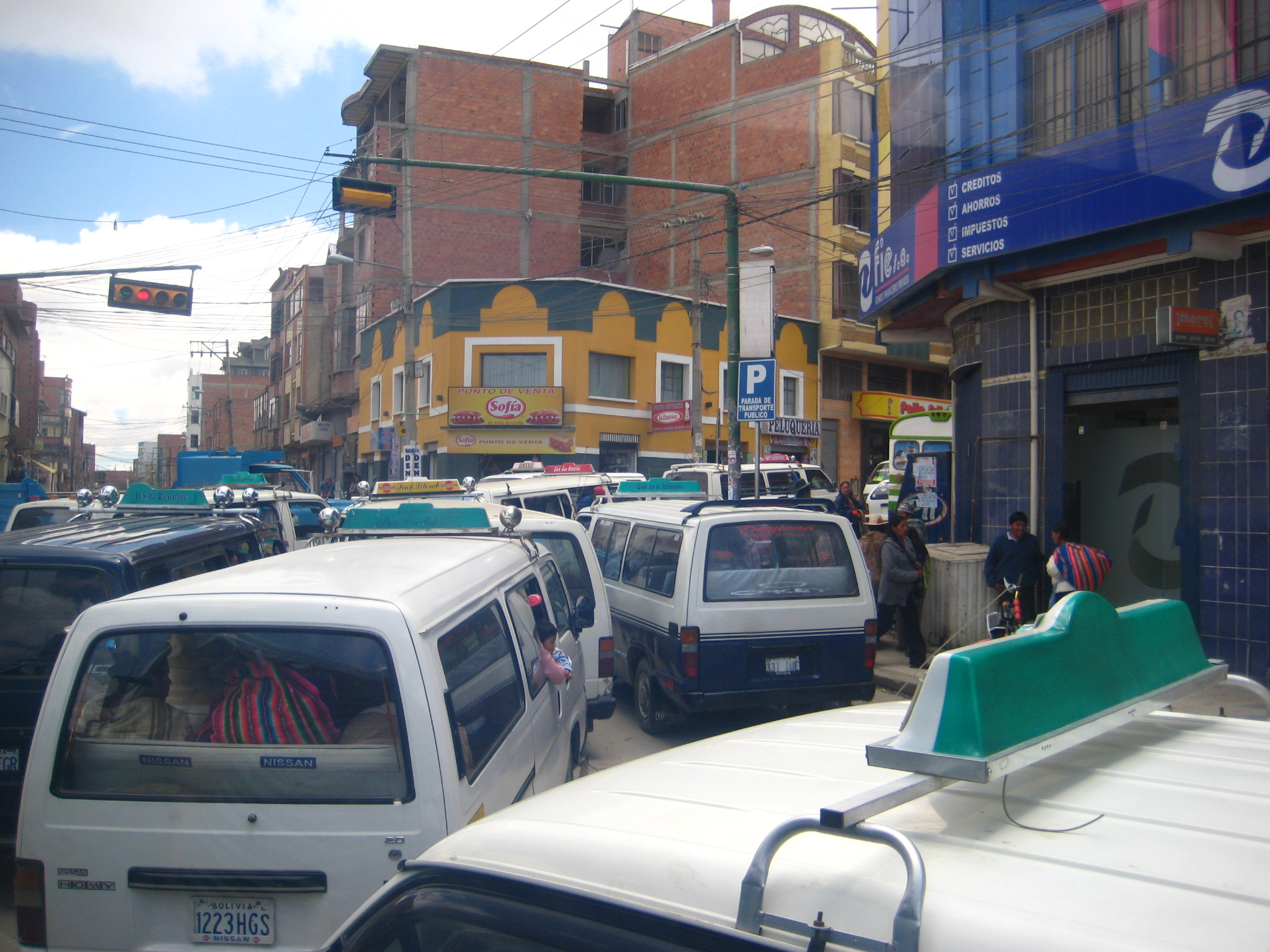 Traffic getting out of La Paz
