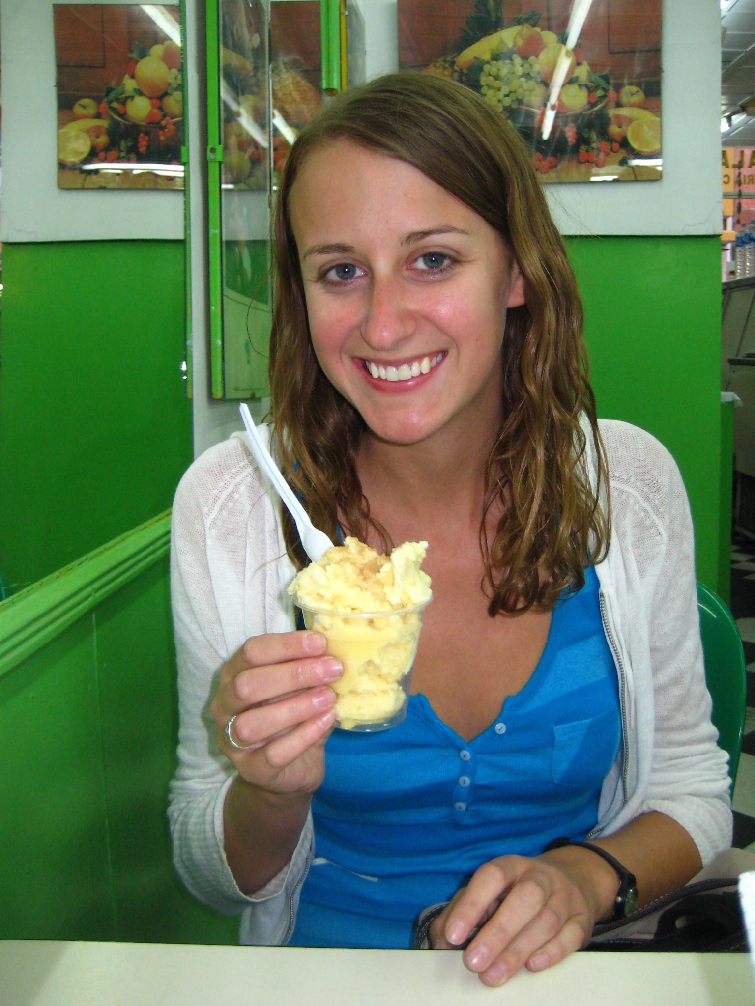 Eating queso helado
