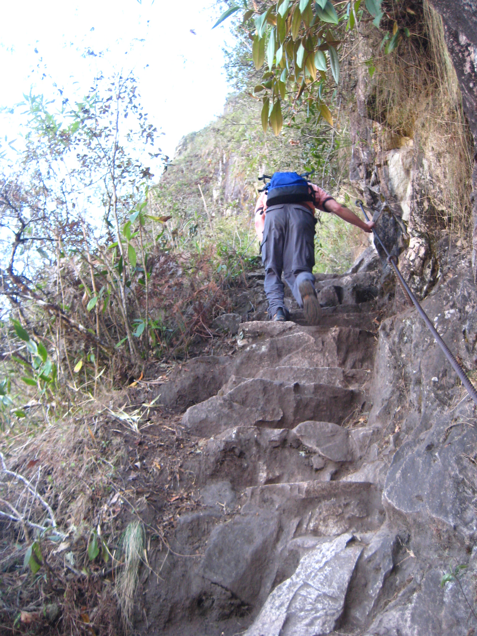 Climbing up Wayna Picchu