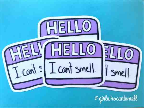 Hello I Cant Smell Name Tag Sticker picture with 4 By Girl Who Cant Smell Official