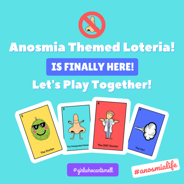 """Text picture with the words, """"Anosmia Loteria is here, Let's play together!"""""""