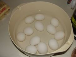 You start with raw eggs at room temperature.