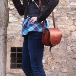 Girl with a saddle bag profile