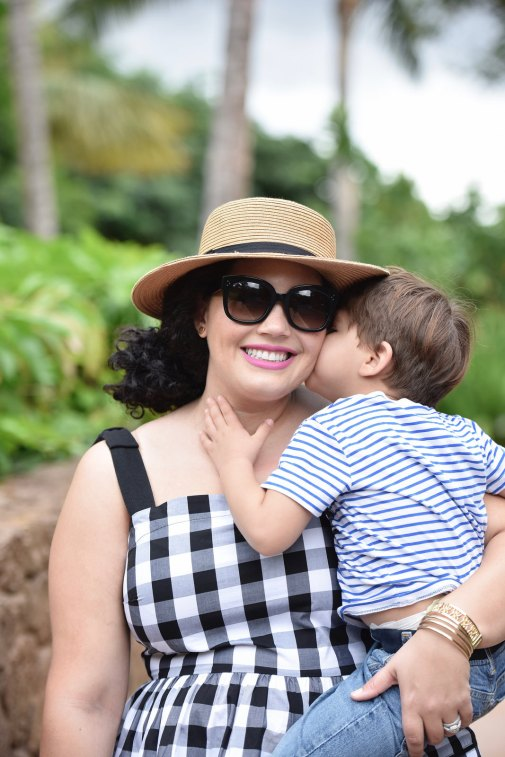 Girl With Curves blogger Tanesha Awasthi wither her son Narayan in Hawaii.