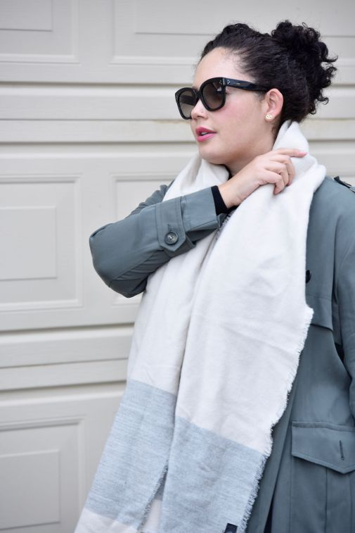 Girl With Curves featuring Trench coat from Asos, Scarf from Zara, and Sunglasses from Celine