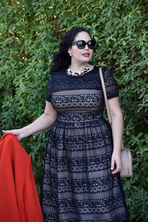 Girl With Curves wearing a pearl necklace from Ann Taylor, Audrey Sunglasses from Celine, Lace Dress from Maggy London at Nordstrom, Chanel bag.