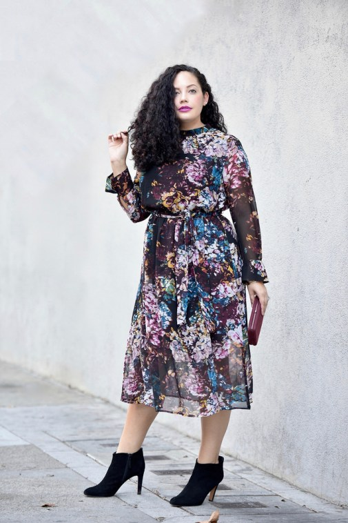 Girl With Curves featuring a floral dress.