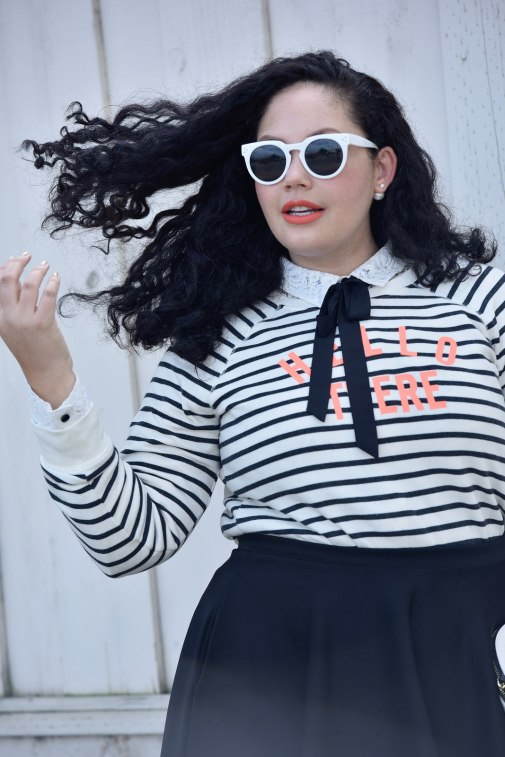Girl with Curves featuring a swearshirt from Old Navy, Blouse from Kate Spade, Neon Orange lipstick from Mac, and sunglasses from Asos