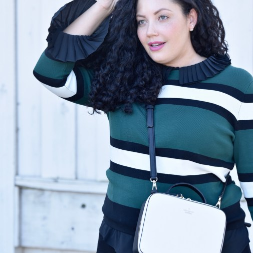 Sweater from Asos, Top from Eloquii, Pants from Old Navy, Bag from Kate Spade, Lipstick from Mac Fan Fare Via @GirlWithCurves