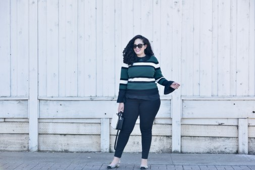 Sweater from Asos, Top from Eloquii, Pants from Old Navy, Bag from Kate Spade, Shoes from J Crew, Sunglasses from Celine, Lipstick from Mac Fan Fare Via @GirlWithCurves