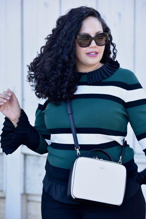 Sweater from Asos, Top from Eloquii, Pants from Old Navy, Bag from Kate Spade, Sunglasses from Celine, Lipstick from Mac Fan Fare Via @GirlWithCurves