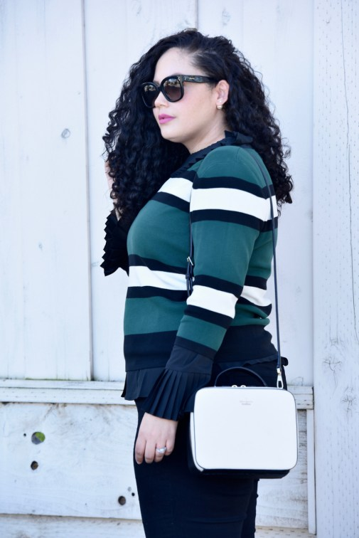 Sweater from Asos, Top from Eloquii, Pants from Old Navy, Bag from Kate Spade, Sunglasses from Celine, Lipstick from Mac Via @GirlWithCurves