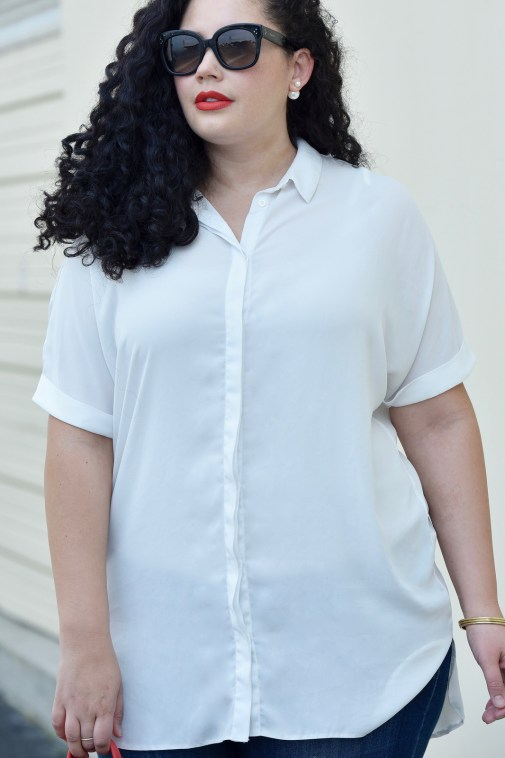 Tanesha Awasthi wearing a white blouse via Girl With Curves.