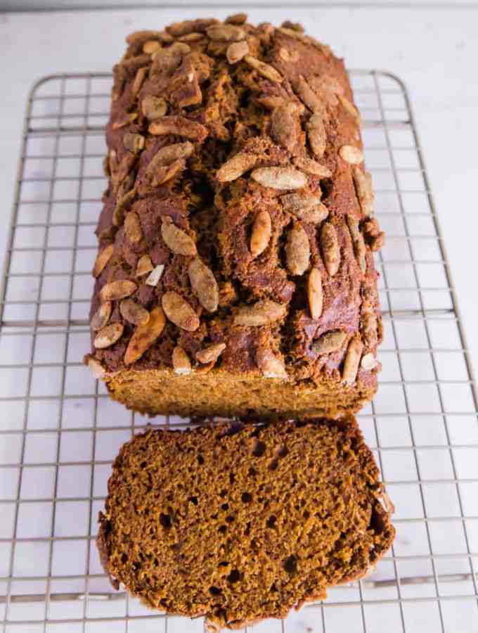 Pumpkin bread with pumpkin spice seeds
