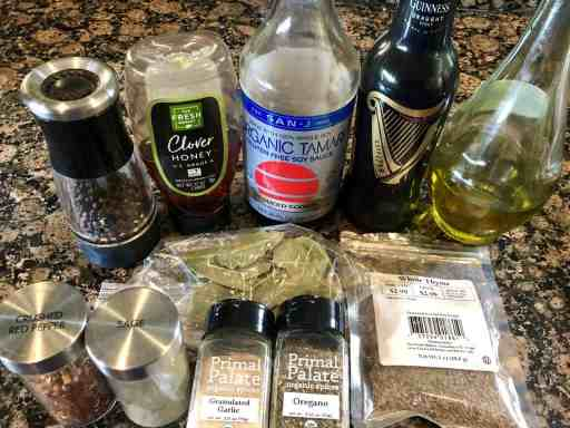 marinade ingredients for chicken on a table