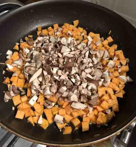 sweet potato mushroom in skillet