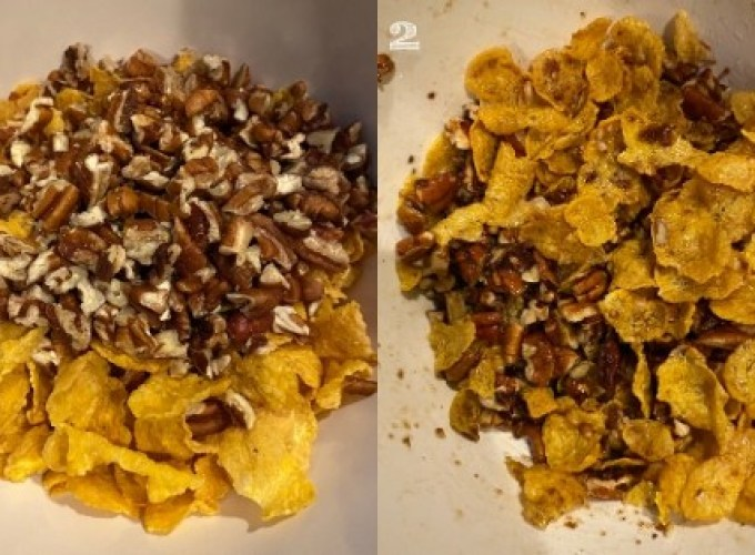 side by side photo of pecans, corn flakes, and brown sugar mixed in white bowls