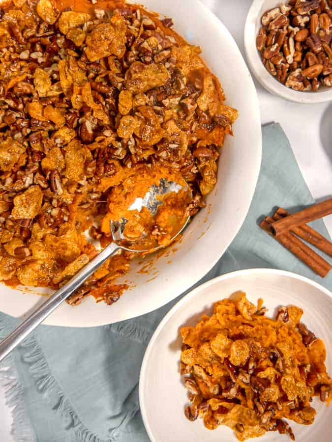 overhead photo of sweet potato casserole with crunchy topping